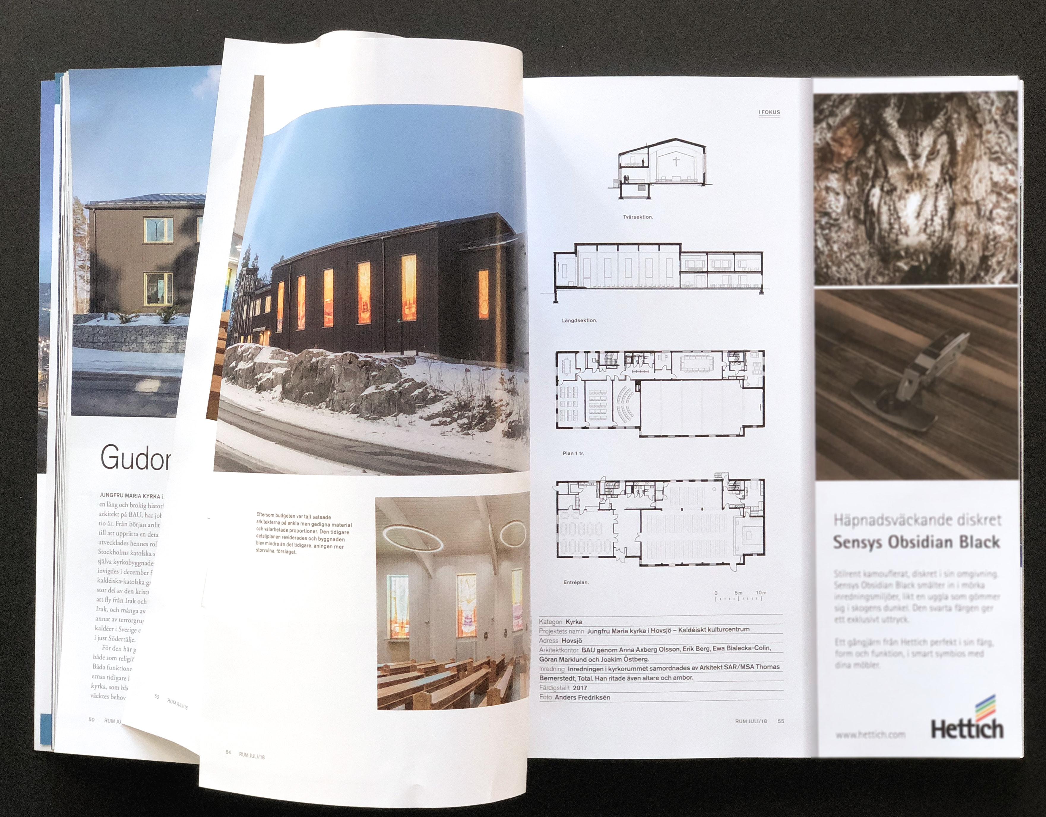 Uppslag av tidningen RUM visande artikel om BAUs projekt Jungfru Maria Kyrka